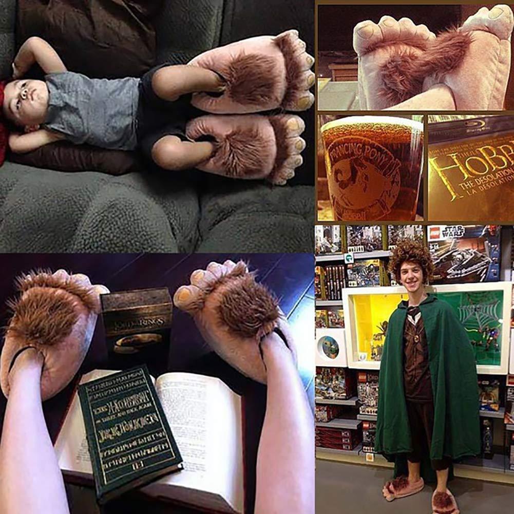 1 Paire en Peluche Monstre Aventure Chaussons Nouveaut/é Hiver Big Feet Pantoufles Creative Bigfoot Unisex Hiver Chaussons Chaussure Indoor Furry Gros Pieds