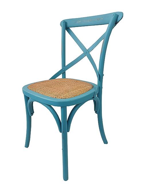 Sedie Legno Antiche.Toto Piccinni Sedia In Legno Design Cross Seduta Intreccio Rattan Alta Qualita Azzurro Antico 1