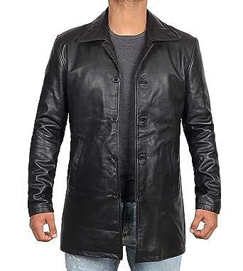 96ad04f2450e Decrum Mens Black Leather Coats - Mens Leather Coat Jacket | [1500041]  Super Black
