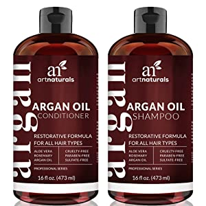 ArtNaturals Moroccan Argan-Oil Shampoo and Conditioner Set - (2 x 473ml) - Sulfate Free - Volumizing & Moisturizing - Infused with Keratin