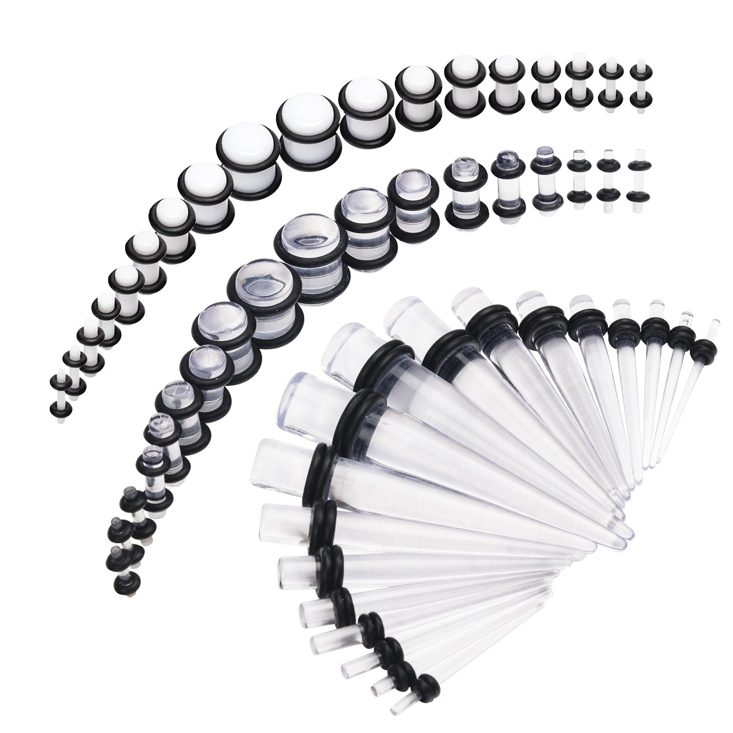 Vcmart 14G-00G 54pcs Acrylic Ear Stretching Kit Tapers & Plugs Body Piercing Jewelry DRK17602