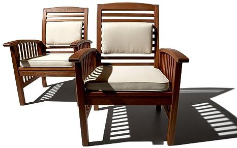 Sedie In Legno Con Braccioli : Strathwood gibranta set di due sedie in legno duro con braccioli
