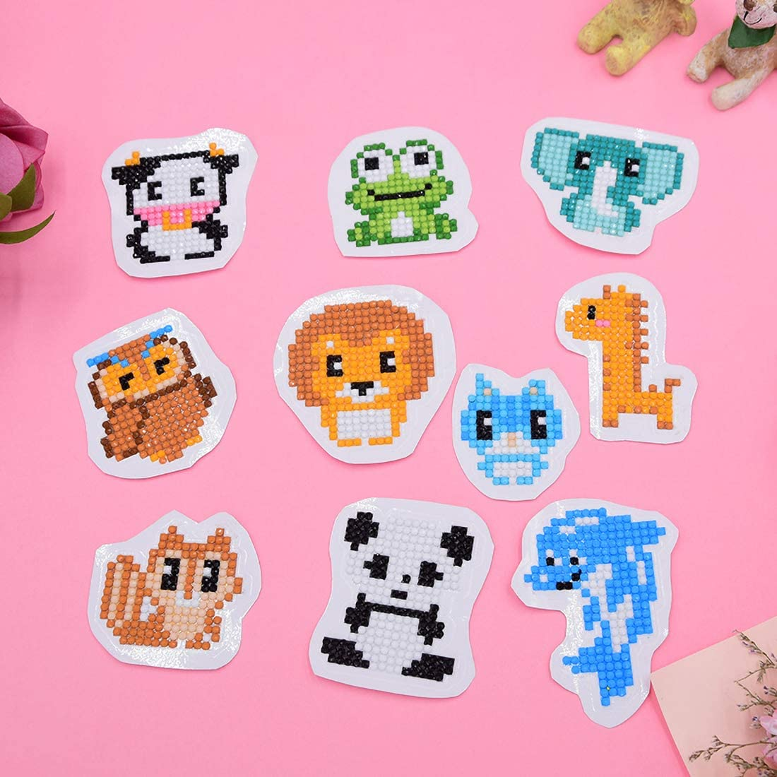 5D DIY Diamond Painting Stickers Animals /& Butterfly Paint by Numbers Diamonds Stickers Kits for Kids Adult Beginners 19 Pcs Funny /& Colorful Stickers