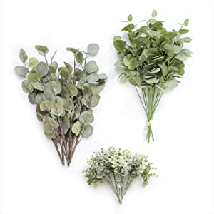 Ling's moment Artificial Eucalyptus Greenery Spray Box Set for Wedding Bouquet and Table Centerpieces Decoration