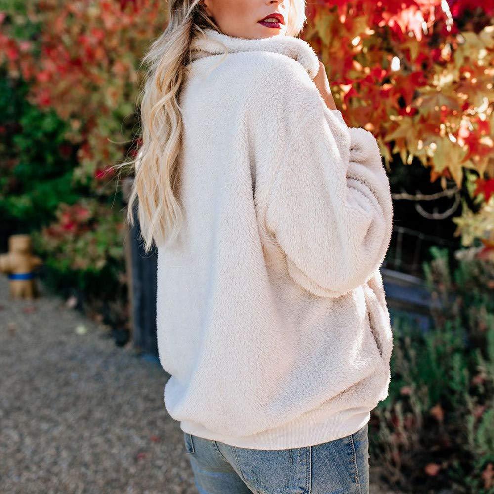 Amazon.com: Sherpa Jacket Women Pullover Sweaters Fleece Zipper Sweatshirt Tunic Blouse Winter Warm Jumper with Pocket Basic Designed (White, ...