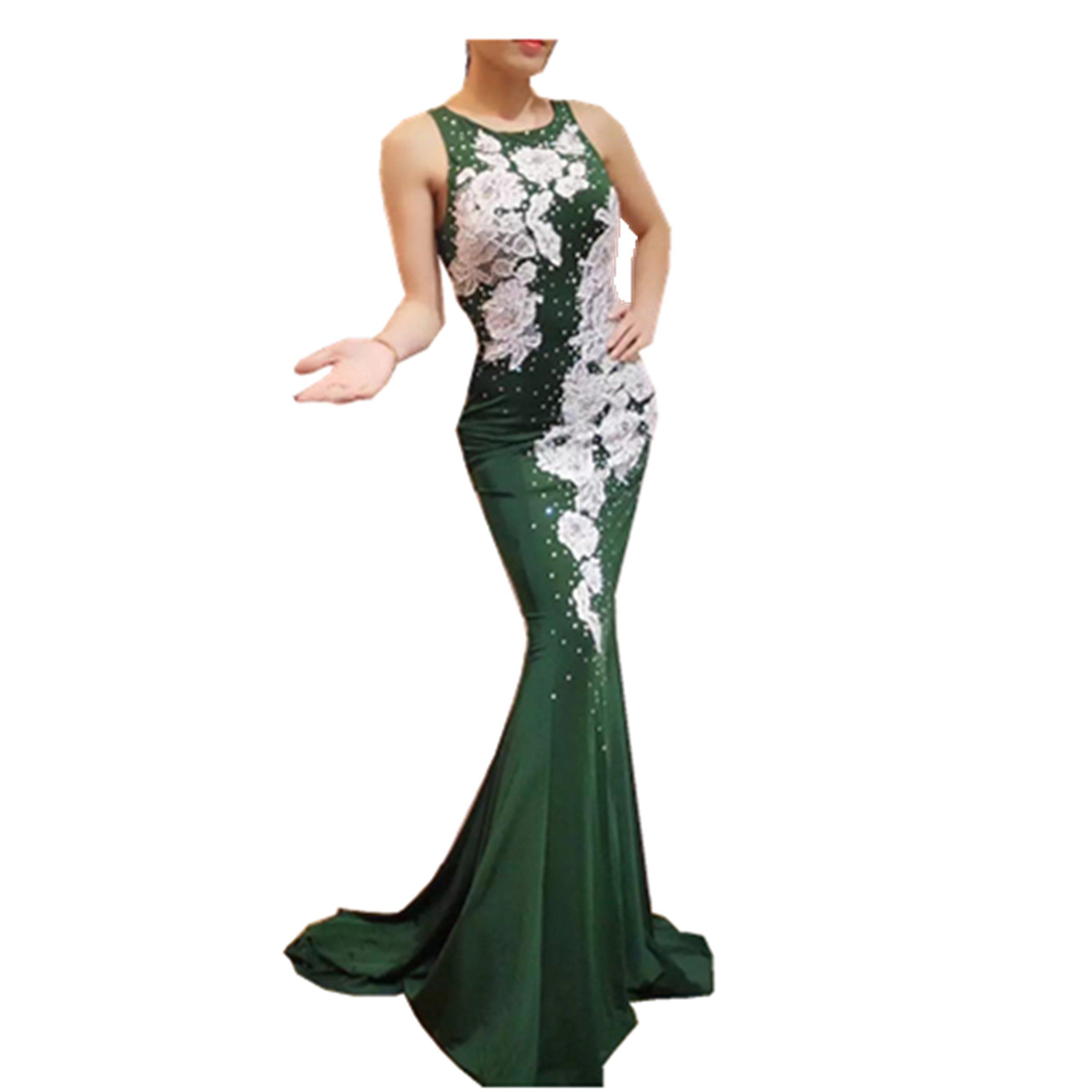 Gypsophila Women Fishtail Lace Beading Sleeveless Mermaid Evening Dress (4, Green) by Gypsophila