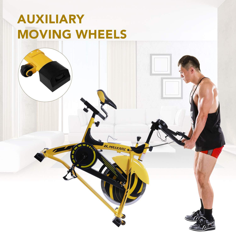 Maxkare Stationary Bike Belt Drive Spin Bike 44lbs
