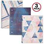 """Mead Spiral Notebook, 1 Subject, College Ruled, 70 Sheets, 10-1/2"""" x 7-1/2"""", Shape It Up, Purple, Teal, Pink, 3 Pack (38191)"""