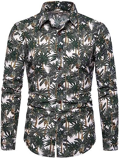 Jinyuan Primavera otoño Hombres Camisas Casuales Moda Manga Larga Marca Impresa Abotonada Formal Negocios Lunares Floral Hombres Camisa Floral M-4Xl: Amazon.es: Ropa y accesorios