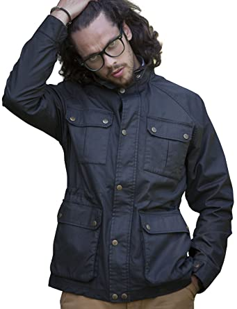 58dfec09e575e Vedoneire Mens Wax Jacket (3050 BLACK) motorbike style coat waxed ...