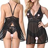Parma Women Sexy Lingerie Halter Babydoll V Neck Lace Mesh Chemise Open Back Nightwear with G-String