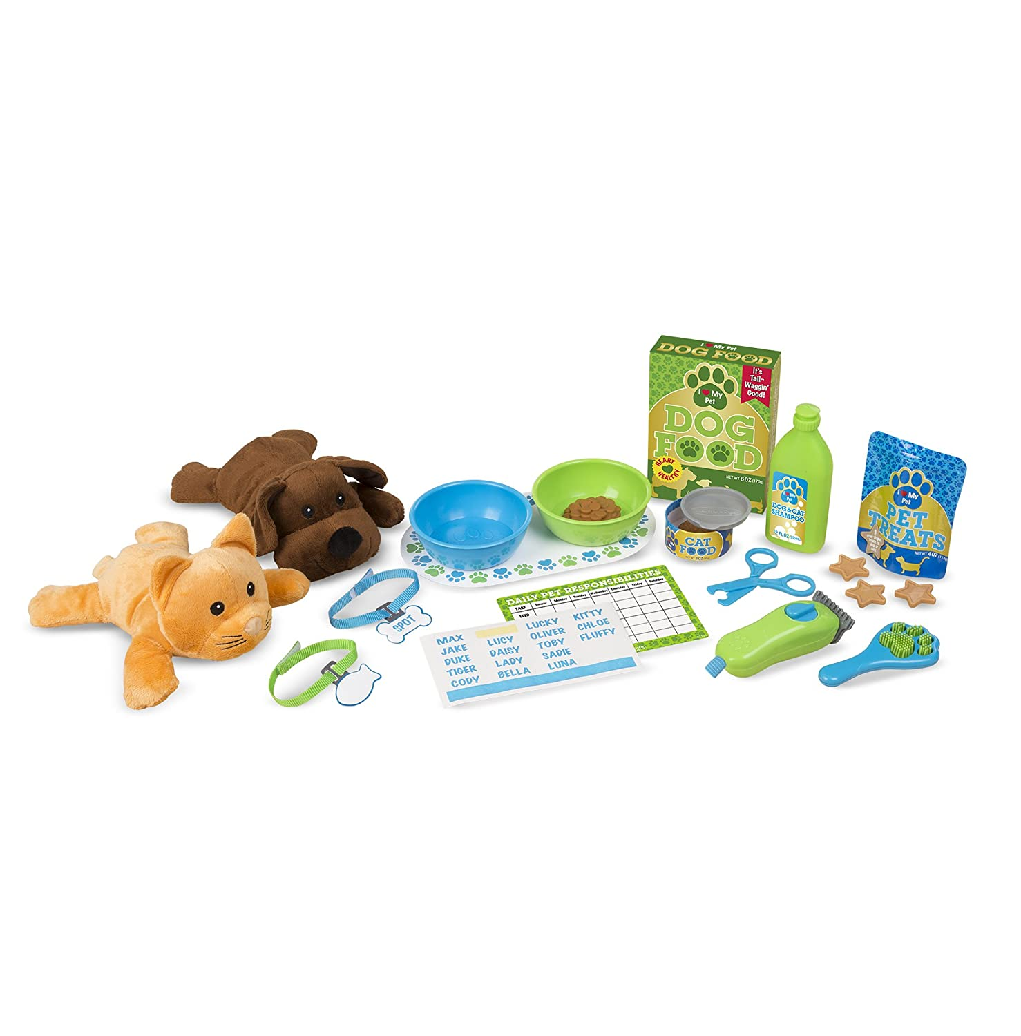Melissa & Doug 18551 Feeding & Grooming Pet Care Play Set with 2 Plush Animals, 24 Pieces Melissa and Doug