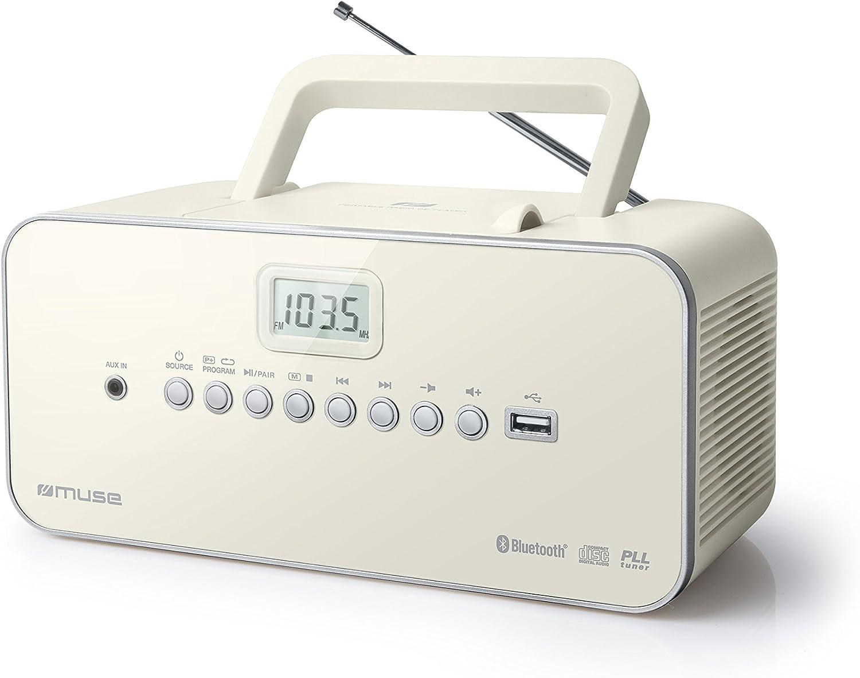 Radio Portable Muse M 30 BTB Radio, CD, mp3, USB avec Fonction Bluetooth Mémorise Les émissions Fonctionnement sur Piles ou sur Secteur weiß