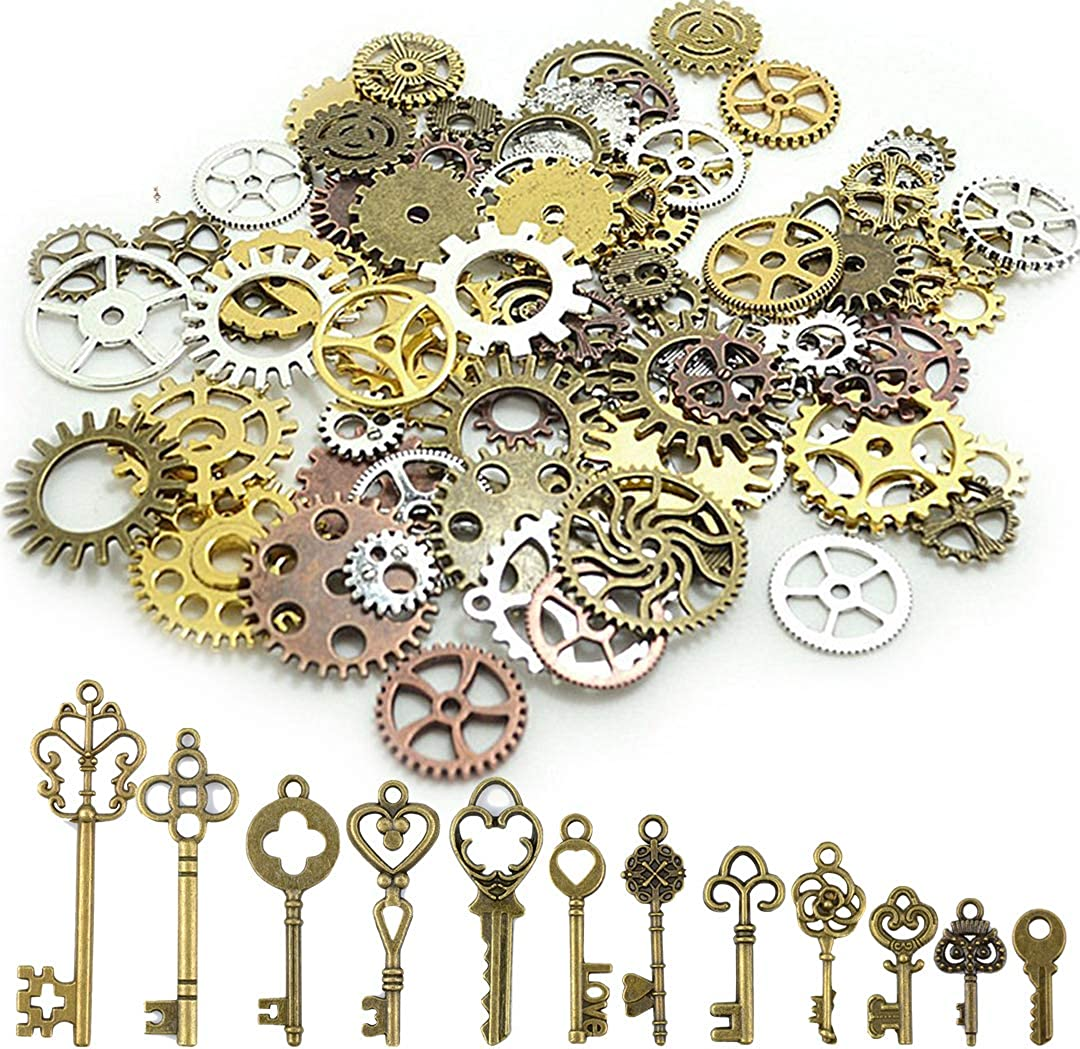 Mixed 30g Steampunk Gear Charms Antique Bronze Plated Tone Making Jewelry