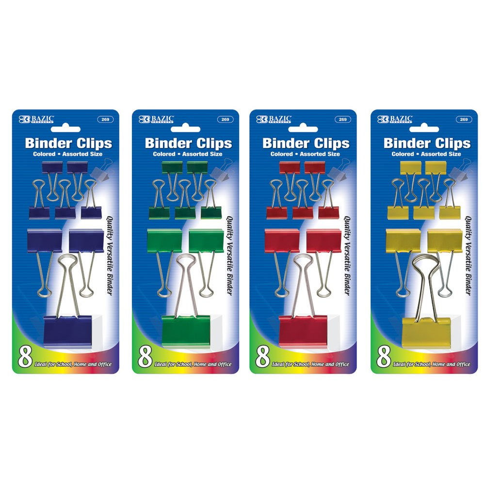 BAZIC Assorted Size Color Binder Clip (8/Pack) (Case of 144) (269-144)