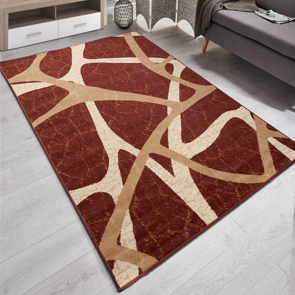 Carpeto Designer Teppich Modern Muster Meliert In Braun - ÖKO Tex (200 x 300 cm)