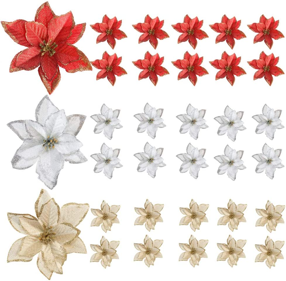 AILANDA 30PCS 5.9in Christmas Artificial Glitter Poinsettia Flowers Red Silk Flowers Gold Sliver Glitter Poinsettia Bush for Christmas Tree Ornaments Home Decor Wreaths Garland (Red, Gold, Silver)