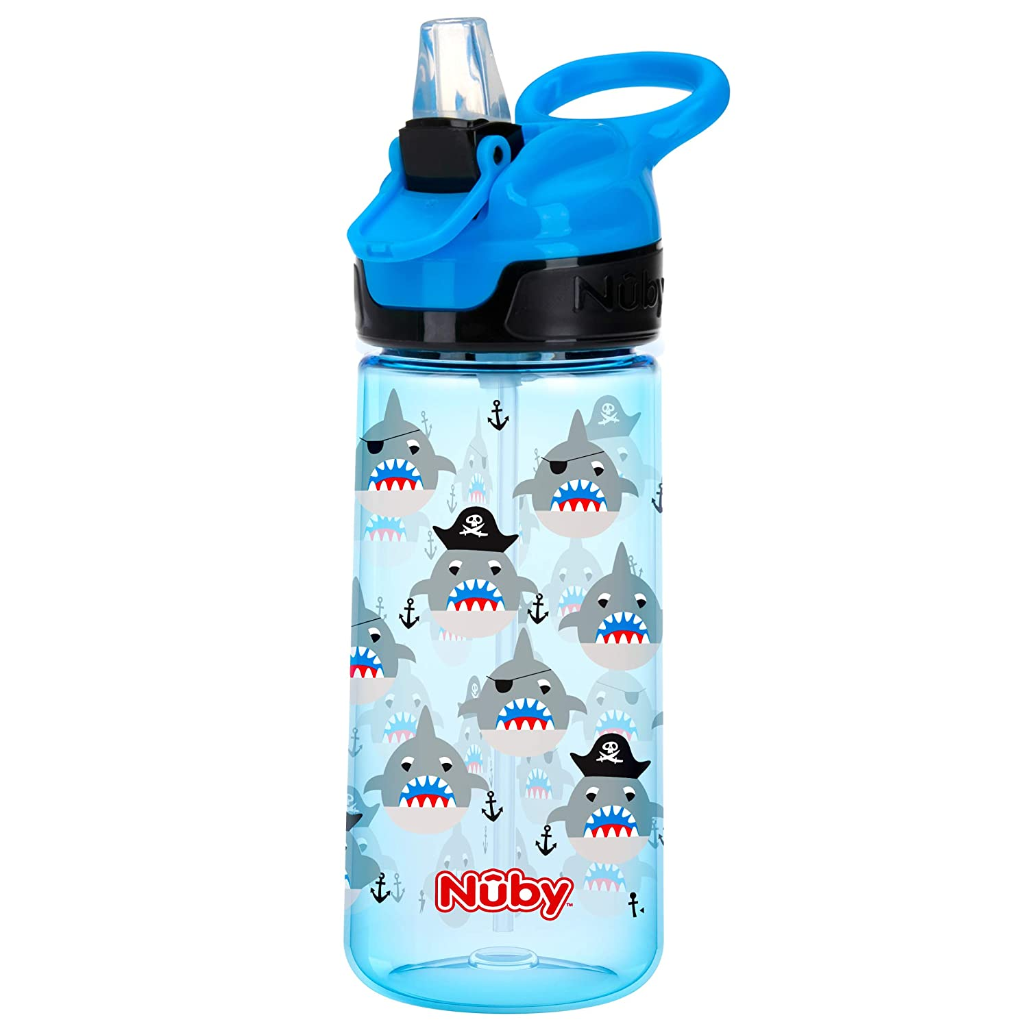 Nuby Push Button Flip-it Soft Spout Tritan Water Bottle, Blue Sharks, 18 Oz