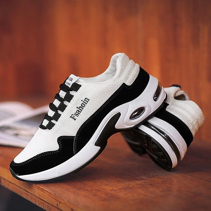 ❤ Calzado Deportivo para Hombres, Color sólido de los Hombres Correa de ventilación Atado con amortiguación Zapatos Corrientes Zapatos de Gimnasia ...