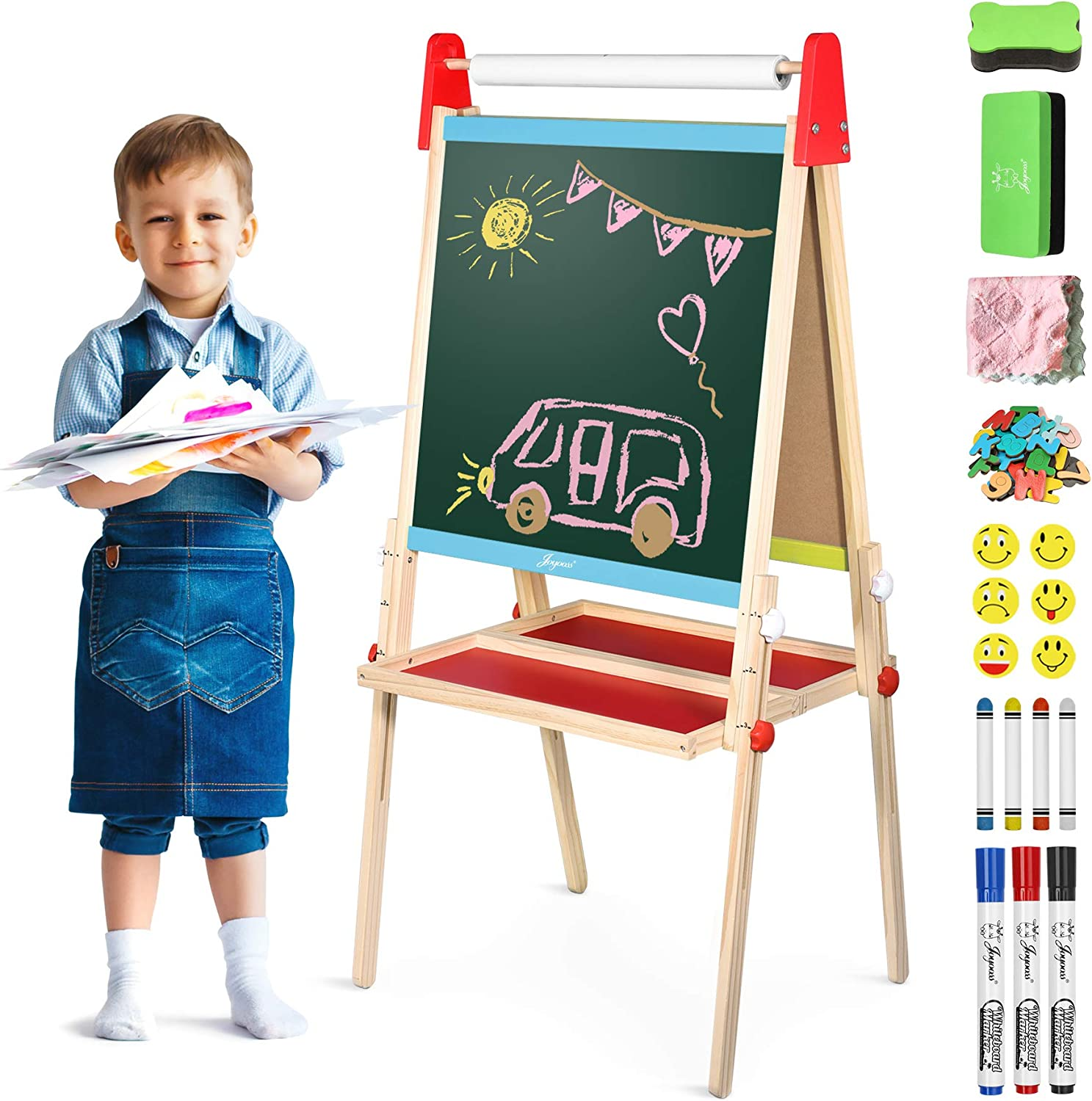 Joyooss Easel for Kids, Wooden Whiteboard & Chalkboard Easel, Foldable Height Adjustable Double Sided Art Easel for Toddlers with Paper Roll, Magnetic Letters, Markers