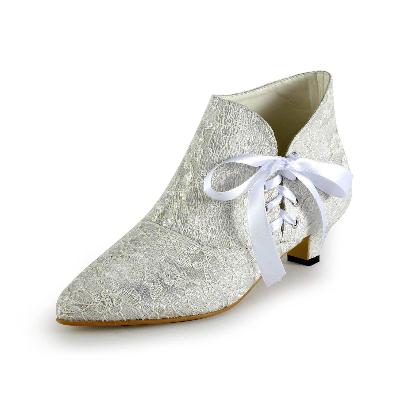 Minishion Women's Fashion Kitten Heel White Lace Bridal Wedding Ankle Boots US 8.5