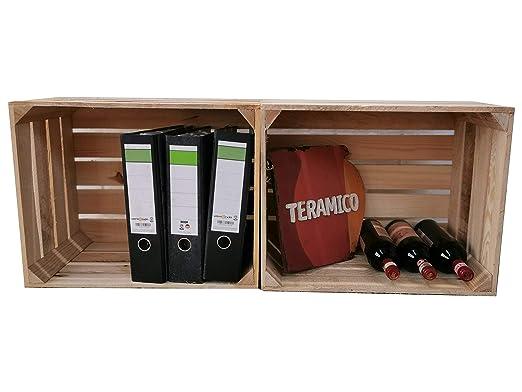Teramico - Cajas de Madera para Frutas, Color Natural y Flameado, Juego masivo de moldes Florales XXL, Madera, Neu Natur, 2 Unidades