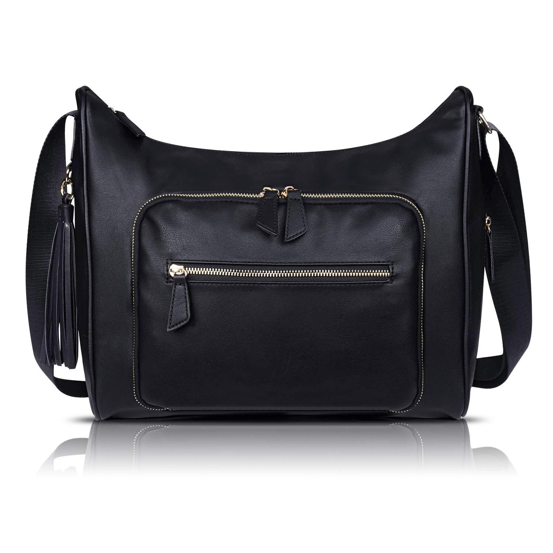 c52bc6382c48 Estarer Women Large PU Leather Handbag Black Cross Body Tote Shoulder Bag  for Work School