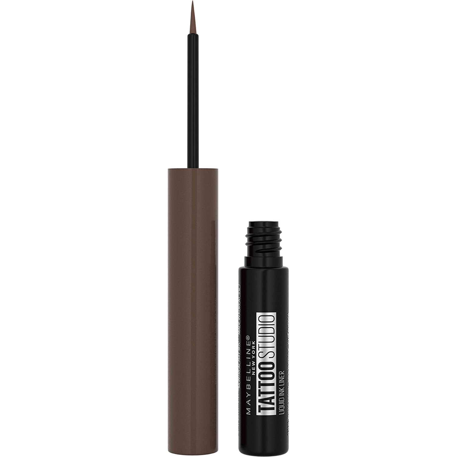 Maybelline TattooStudio Liquid Ink Liner Up To 36HR Wear, Sweat Resistant, Smudge Resistant, No Mess Removal, Longwear Liquid Eyeliner Makeup, Rustic Brown, 0.08 fl. oz.