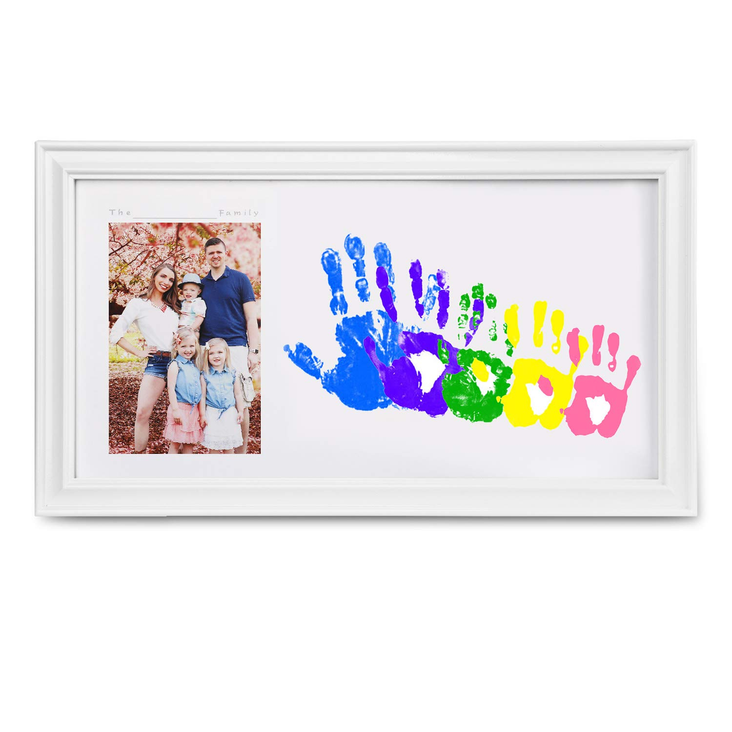Customizable Newborn and Baby Handprint Footprint Keepsake with Large Size Family Photo Frame Kit - Personalize w/Your Family Name! Non-Toxic Paint. (Girl Newborn)