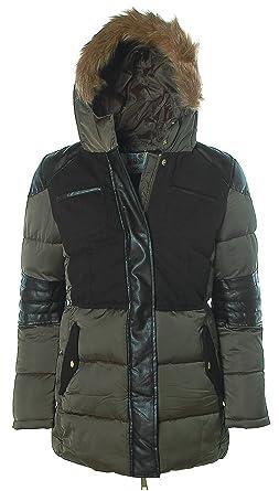 AJC Damen Steppjacke Stepp Jacke mit Kapuze Materialmix Khaki-Schwarz 36 612d62cb75
