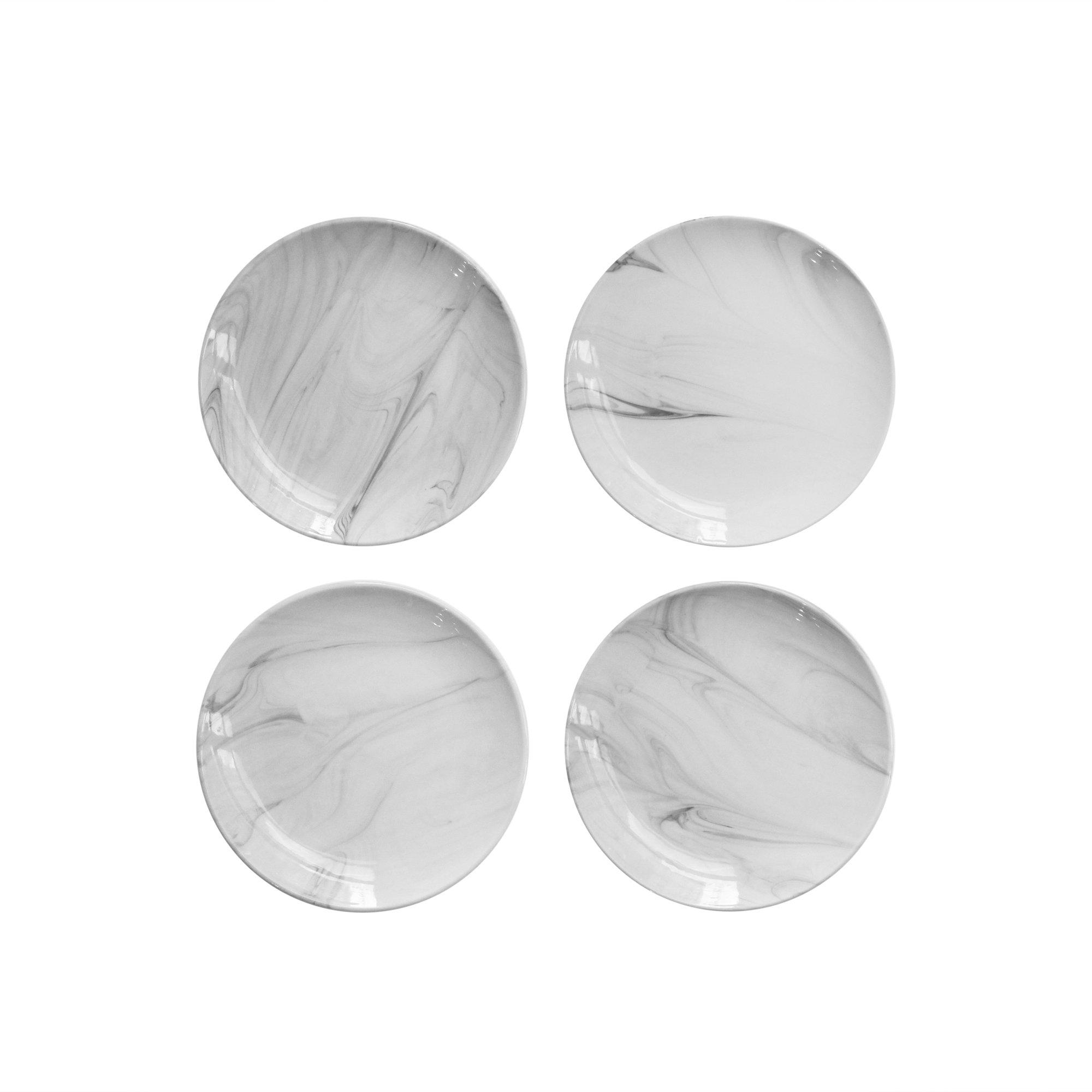 Jay Imports Marble Gray New Bone China Set of 4 Canape Dessert Plates by Jay Imports (Image #1)