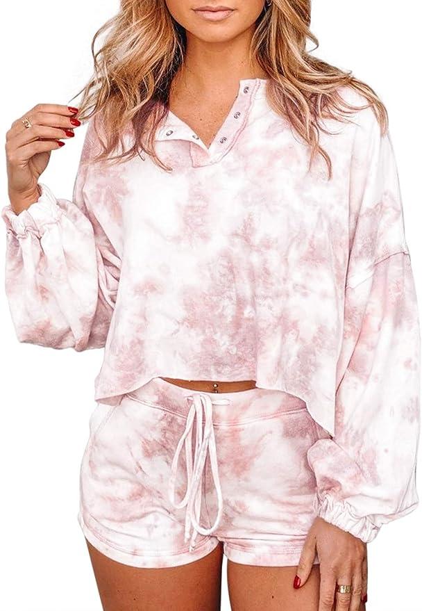 BLENCOT Women's Tie Dye Pajamas Set Long Puff Sleeve Shirts and Shorts PJ Set Button Down Nightwear Lounge Sleepwear