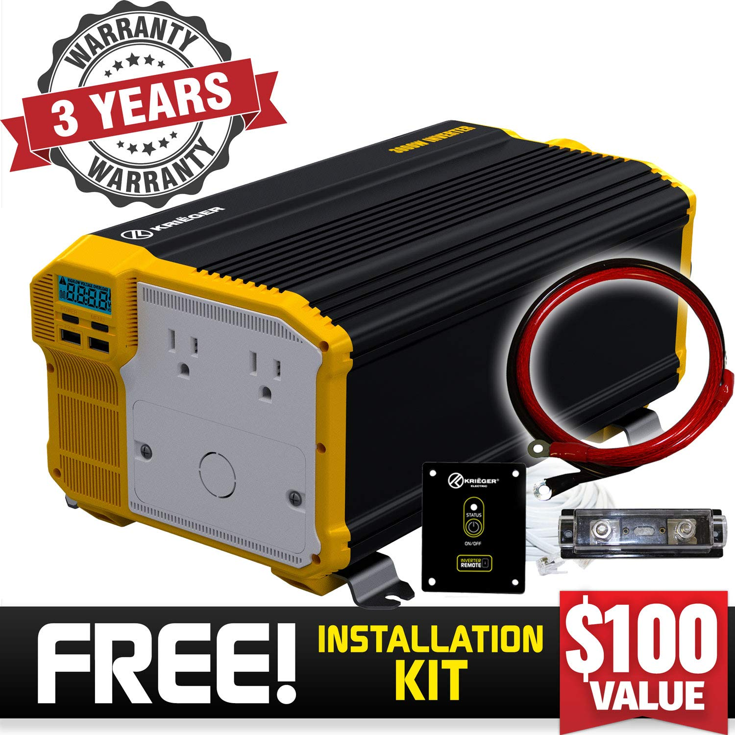 KRIËGER 3000 Watt 12V Power Inverter, Dual 110V AC outlets, Installation kit Included, Back up Power Supply for Large appliances, MET Approved According to UL and CSA Standards.