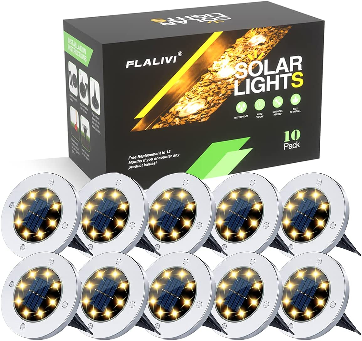 Flalivi Solar Ground Lights, 10 Pack 8 LED Solar Lights Outdoor Landscape Lighting Waterproof for Garden Yard Patio Disk Pathway Lawn Driveway Walkway- Warm White