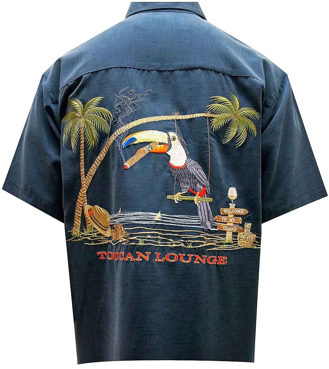 Bamboo Cay Mens Toucan Lounge Button Front Embroidered Navy Blue Camp Shirt by Bamboo Cay
