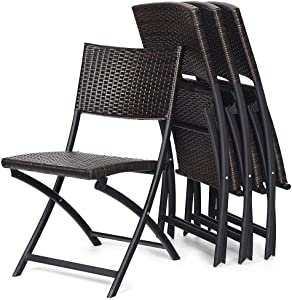 AILY Rattan Folding Garden Chairs, Back Dining Chairs Outdoor Furniture - Set of 2, Garden Outdoor Patio Sun Loungers (Brown)