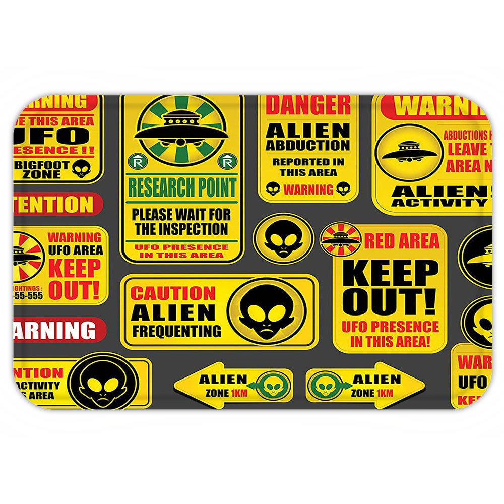VROSELV Custom Door MatOuter Space Decor Warning Ufo Signwith Alien FaceHeadGalactic Paranormal Activity Design Yellow