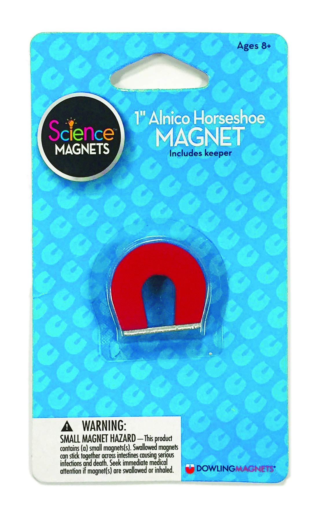 """Dowling Magnets Alnico Horseshoe Magnet (1"""" H), red, Includes kepper, Multicolor"""