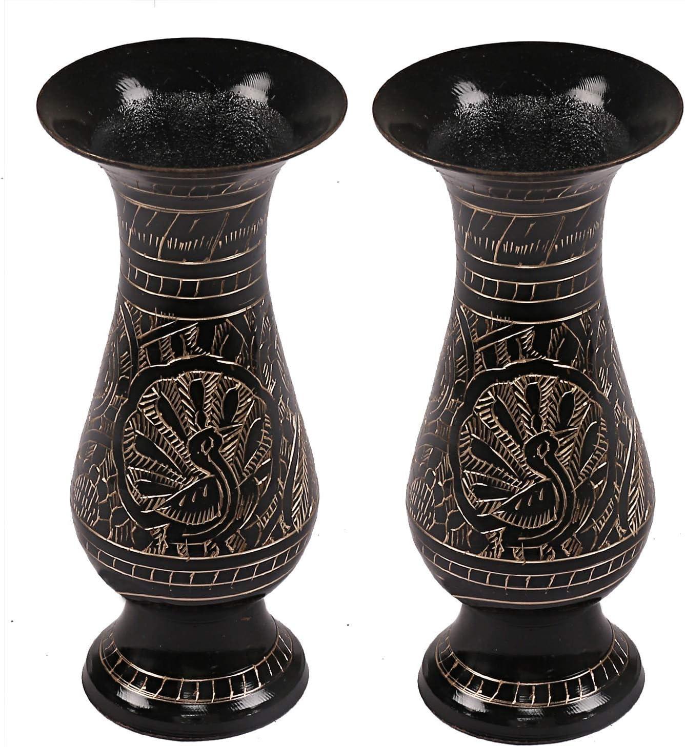 PARIJAT HANDICRAFT Brass Flower Vase | Pot Antique Handcrafted Peacock Showpiece Beautiful Home Office Decor Article (2)