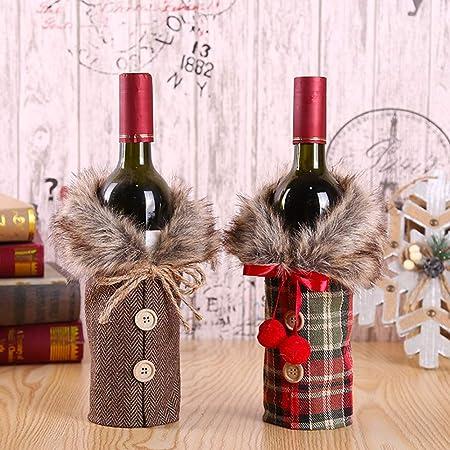 3 X Noël Porte Bouteille Vin Housse Sac Cadeau Cadeaux Nouveauté table de Noël Sacs