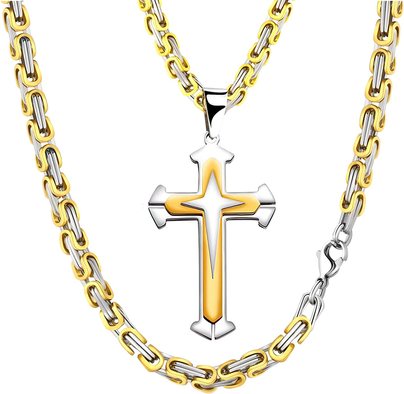 """18/""""-36/"""" Gold Stainless Steel Byzantine Box Chain Necklace for Men/'s 2"""