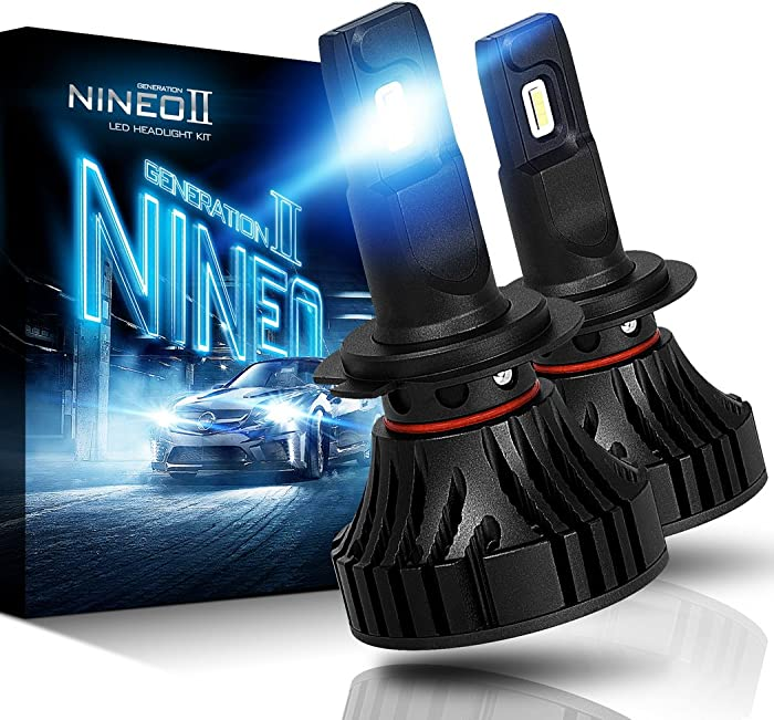 NINEO H7 LED Headlight Bulbs,CREE Chips 12000Lm 5090Lux 6500K Extremely Bright All-in-One Conversion Kit,360 Degree Adjustable Beam Angle