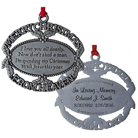 photograph relating to Merry Christmas From Heaven Poem Printable named Custom made Engraved Merry Xmas Towards Heaven Ornament, Poem Card, Reward Box