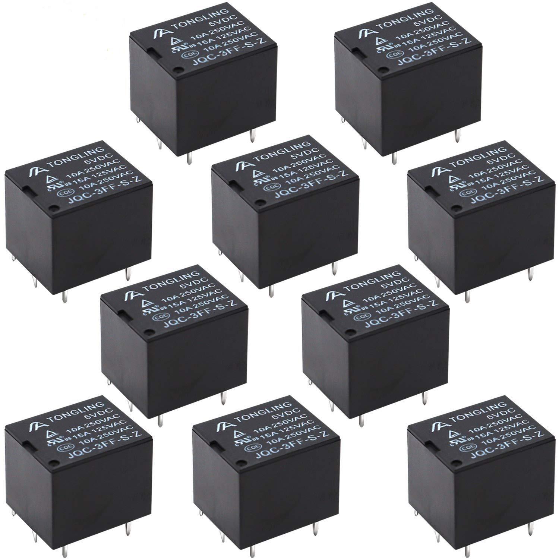 Tnisesm// 10St/ück PCB Leistungsrelais DC 5V Spule SPDT 4 Poliges Mini Elektromagnetisches PCB Relais T78-4P-5V-BK