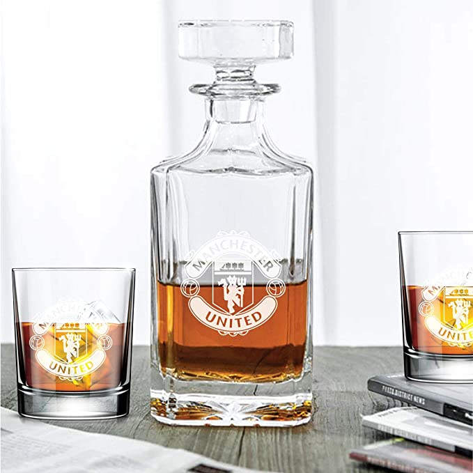 MANCHESTER UNITED WHISKY GLASSES 2 x 250 ml .HIGH QUALITY!!!
