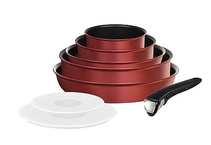 Tefal L3819702 - Set de 8 piezas para inducción (2 sartenes de 22 cm y 26 cm, 1 sartén alta salteadora de 24 cm, 2 cazos de 16 cm y 20 cm, 2 tapas ...