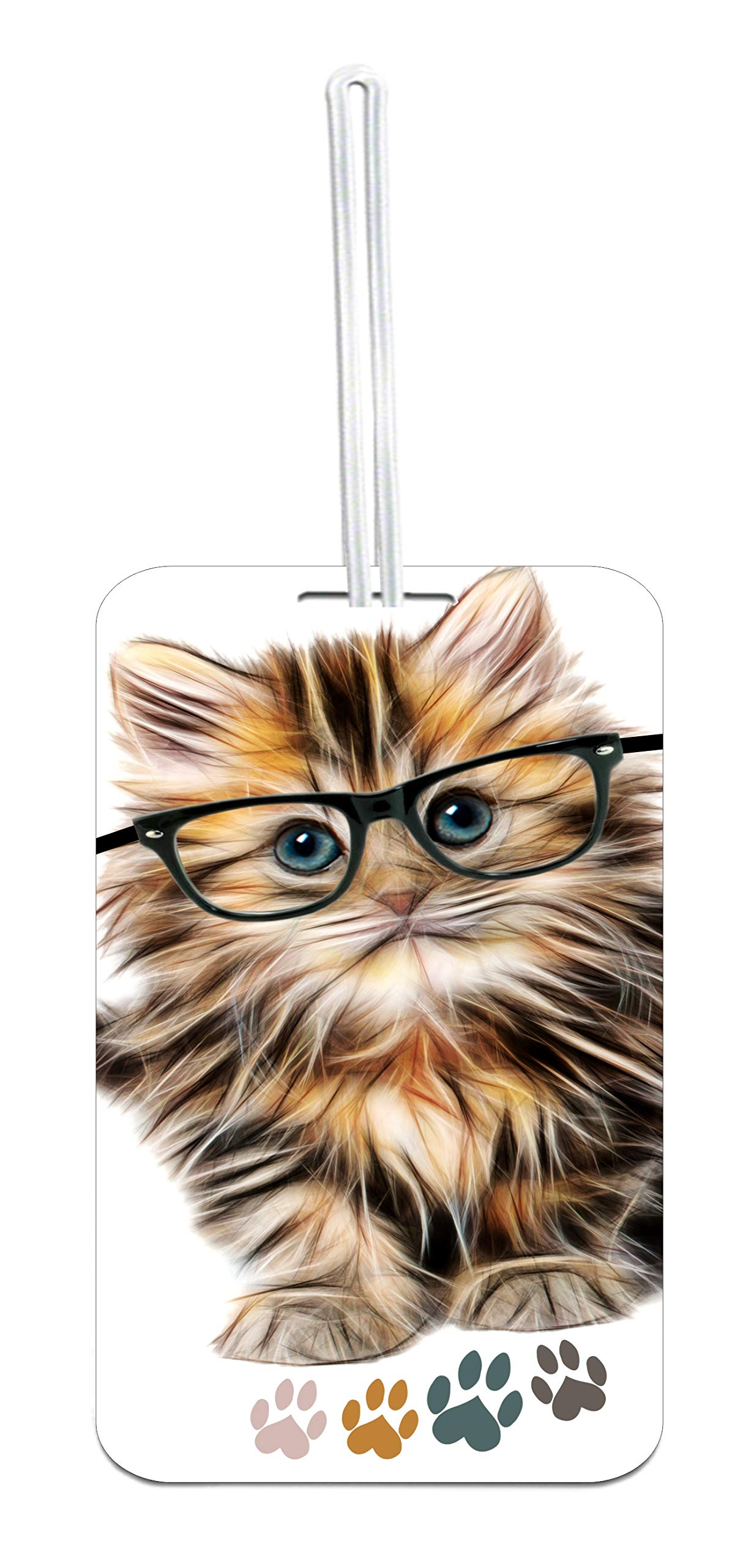 Kitty Cat in Glasses and Pawprints Design Luggage Tag with Personalized Back