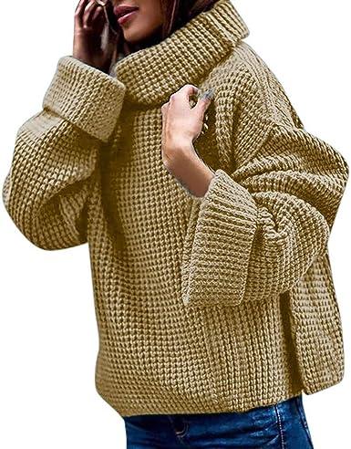 DAMEN STRICKPULLOVER ROLLKRAGEN Winter Lang Pullover
