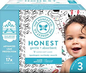 The Honest Company Club Box Diapers with TrueAbsorb Technology, Skulls & Space Travel, Size 3, 68 Count