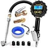 AZUNO Digital Tire Inflator with Pressure Gauge, 200 PSI (0.1 Res) w/LED Flashlight, Heavy Duty Air Compressor Accessories 7pcs Set, w/Lock on Air Chuck, Dual Head Chuck and 90° Tire Valve Extension